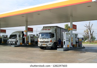 Nakhon Ratchasima Province Thailand , January 06 - 2019 : Gas and fuel station service in Thailand