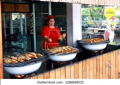 Nakhon Ratchasima Province Thailand , January 06 - 2019 : food shop in Thailand selling the chicken grill.