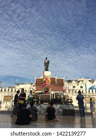 Nakhon Ratchasima Province/ Thailand-December 12 2017: Statue of Lady Mo, Korat city centre.The best moment of  Lady Mo .Beautiful and soft cloud .