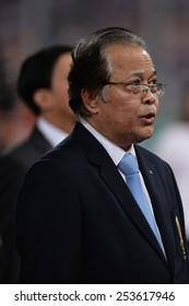 NAKHON RATCHASIMA THA-Feb7:Worawi Makudi President association football of Thailand the 43rd King's cup match between Thailand and Korea Rep at Nakhon Ratchasima stadium on February7,2015 in Thailand.