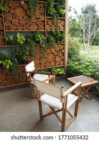 Nakhon Ratchasima / Thailand - 14 June 2020: Arranging tables and chairs for customers to sit and take pictures of nature views at a coffee shop named BUCOLIC.
