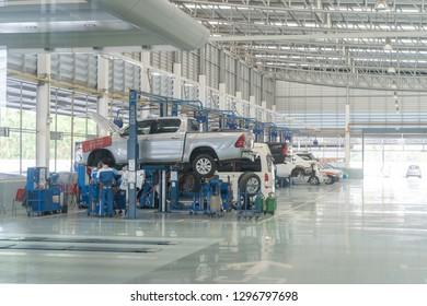 NAKHON RATCHASIMA, THAILAND - 8 January : Toyota service center, car maintenance, car diagnostics on January 8, 2019 in Nakhon Ratchasima city, thailand.