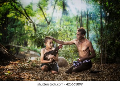 Nakhon Ratchasima. Thailand. April 10, 2016:Rural Thailand, Thai farm fighting cock.