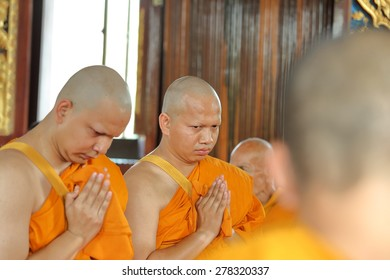 NAKHON RATCHASIMA , THAILAND - APRIL 12: the ordination ceremony that change the Thai young men to be the new monks at Chae Temple on April 12, 2015 in Nakhon Ratchasima , Thailand