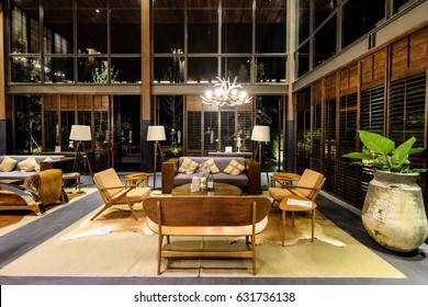 Nakhon Ratchasima, THAILAND - April 29: Lobby at Atta the Resort on 29 April 2017 ,in Khao Yai, It is the property under Kirimaya perperty, surrounded by Khao Yai mountains.