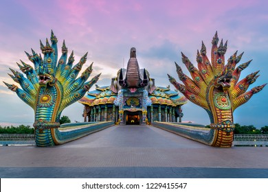 Nakhon Ratchasima, Thailand ; AUG. 11 '2018 - Ban Rai temple or wat ban rai, The shrine is Asia's largest ceramic mosaic shrine with more than 20 million pieces of mosaic.