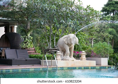 NAKHON RATCHASIMA, THAILAND - DECEMBER 15 : Elephant Fountain Sculpture near swimming pool on December 15, 2015 at Nakhon Ratchasima Thailand.