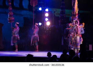 Nakhon Ratchasima, Thailand - December 29, 2015: The pantomime (KHON) travel pantomime festival in Nakhon Ratchasima.