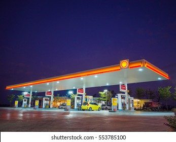 Nakhon Ratchasima, Thailand - December 29, 2016: Shell gas station blue sky background during sunset. Royal Dutch Shell sold its Australian Shell retail operations to Dutch company Vitol in 2014