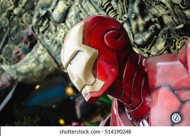 NAKHON RATCHASIMA, THAILAND - JULY 11, 2016 : Iron Man model which is made from old steel at Robot world.