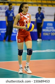 Nakhon Ratchasima, Thailand - July 26:Asma Toubib of Tunesia paticipates in a FIVB Volleyball Girls U18 World Championship at Chatchai Hall on July 26, 2013 in Nakhon Ratchasima, Thailand.