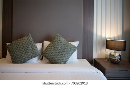 NAKHON RATCHASIMA, THAILAND - JUNE 24, 2017 - IInterior of cozy bedroom in modern business hotel design un Thailand.