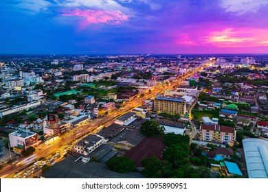Nakhon Ratchasima , Thailand - May 20,2018 : Aerial view of Nakhon Ratchasima city or Korat at sunset, Thailand