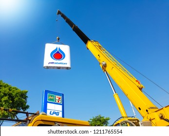 Nakhon Ratchasima , Thailand - October 5, 2018:Installment of PTT Logo - 7Eleven - Amazon cafe, PTT gas station on blue sky background, Petroleum Authority of Thailand.