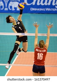 Nakhon Ratchasima, Thailand - SEP 17:Miyu Nagaoka #1 of Japan in action during Asian Sr.Women's Volleyball Championship Chatchai Hall on September 17, 2013 in Nakhon Ratchasima, Thailand.