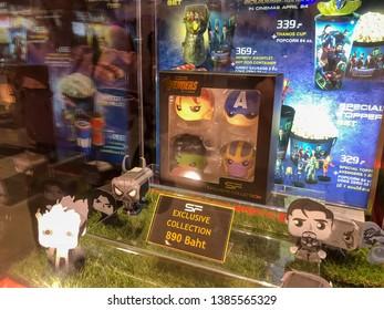 Nakhon Ratchasima/Thailand - Apr 27 2019:Avengers Bobble Heads Gift Set on shelf at the cinema.