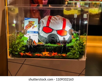Nakhon Ratchasima/Thailand - june 9 2018:  Ant-Man & The Wasp model and blankets, pillows showing on the shelf at the cinema