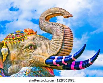 Nakhon Ratchasima,Thailand - November 12 2018 : Nonidentical tourist going to musium building of Era wan elephant the heaven of land at Nakhon Ratchasima,Thailand.