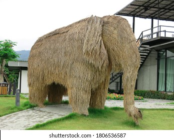 Nakhon Ratchasima,Thailand-August 29,2014 :Elephant sculptures made of straw lay in a meadow in Thailand.