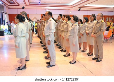 Nakhon Sawan, Thailand 31 May 2019 A group of people standing straight into the ranks of civil servants  Wearing uniforms