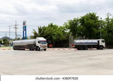 NAKHON SAWAN, THAILAND - JUN 8:Oil trucks in PTT Gas Station on Jun 8,2016 in Thailand.