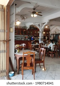 NAKHON SI THAMMARAT, THAILAND - 27 NOVEMBER 2020: Kopi, a local and traditional cafe shop in Nakhon Si Thammarat, is a popular place for coffee, drinks and foods. Kopi cafe and interior decoration.