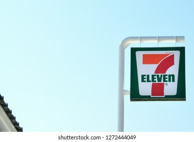 Nakhon Si Thammarat , Thailand - December 22 , 2018 : 7-Eleven sign with blue sky, 7-Eleven convenience store chain in Thailand plans to add 700 new branches this year