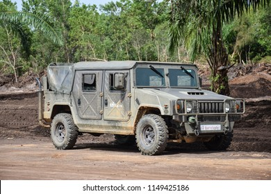 Nakhon Si Thammarat, THAILAND - July 15, 2018: Military Vehicle from 401st Engineer Battalion, 4th Development Division, Fourth Army, RTA. support NST Rajabhat University Construct Campus.