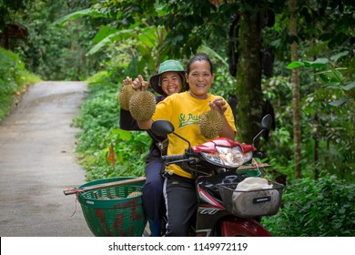 Nakhon si thammarat. Thailand July, 2018. Durian farmers are carrying out from the garden  durian.