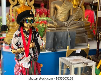 Nakhon Si Thammarat, Thailand - July 25, 2020: The Most Powerful Child ghost in Thailand Known as Wat Chedi (Ai Khai), Nakhon Si Thammarat Province.