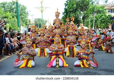 NAKHON SI THAMMARAT, THAILAND- September 22 : Manohra on 10th Month Festival.MANOHRA is folk dance in South of Thailand on September 22, 2014 in Nakhon Si Thammarat, Thailand.
