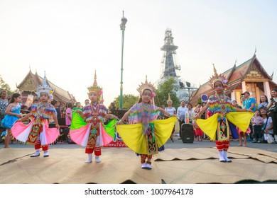 "Nakhon Si Thammarat, Thailand-January 20, 2018 : Thai children performing ""Manohra"", thai culture dance in street market"