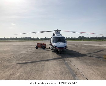 Nakhon Sri thammarat airport,Thailand- May 22,2020-medium transport offshore helicopter with APU or Auxiliaty Power Unit on ramp at airport for offshore operation