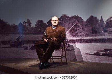 Nakhonpathom, THAILAND - MARCH 5,2016 : Wax Figures Sir Winston Churchill The Greatest living Englishman at Thai Human Imagery Museum in Nakhonpathom Province, Thailand.