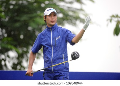 NAKHONPATHOM,THAILA ND-AUG 9:Kim Dae-hyun of KOR in action during day one of the Golf Thailand Open at Suwan Golf&Country Club on August 9, 2012 in Nakhonpathom Thailand