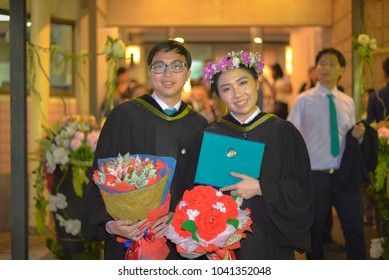 Nakhonpathom,Thailand, December 2, 2017 : Unidentified beautiful asian woman student smile beautiful with friend at graduation ceremony during successful graduate commencement education at university.