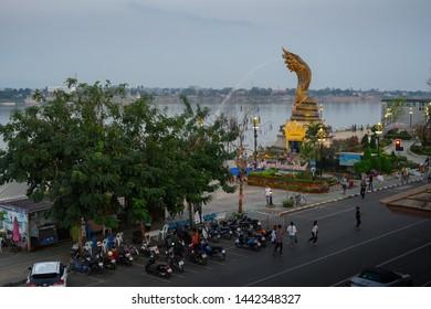 NAKHONPHANOM, THAILAND - 18 Febuary 2019: The Naga Landmark stand along the Maekhong river as a sacred place.