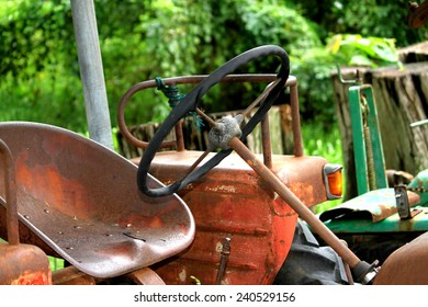 NAKHONPHATHOM-THAILAND-OCTOBER 11 : A Part of the old tractor shown in the Jessada Technic Museum on October 11, 2014 , Nakhonphathum Province, Thailand.