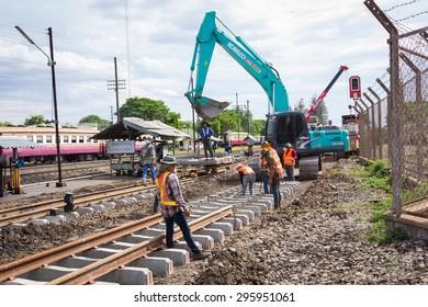 NAKHON-RATCHASIMA, THAILAND - 27 JUNE,2015 : Railroad construction.