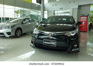 NAKHONRATCHASIMA ,THAILAND -  AUGUST 27, 2016  : The TOYOTA New Vios is on display at Toyota Thaiyen Pakchong Eco-Showroom , NAKHONRATCHASIMA ,THAILAND