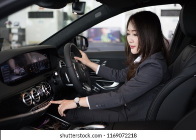NAKHONRATCHASIMA. Thailand. AUGUST 30, 2018 : Mercedes-Benz dealership with a full lot of Mercedes-Benz car test drive new S350d in NAKHONRATCHASIMA. Thailand.