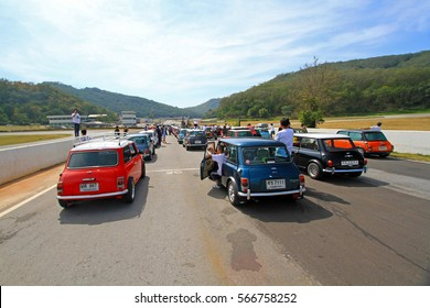 Nakhonratchasima, Thailand - December 21, 2014: Many Classic Austin Mini Cooper at Mini Mountain Festival of Thailand mini family club