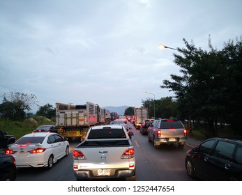 NAKHONRATCHASIMA, THAILAND - DEVEMBER 8, 2018 : Traffic jams on by-pass Pakchong Road. This road usually has traffic jam during long weekend or events.