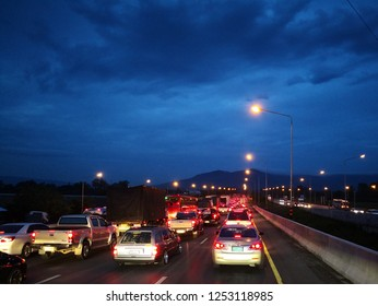 NAKHONRATCHASIMA, THAILAND - DEVEMBER 8, 2018 : Traffic jams on by-pass Pakchong Road. This road usually has traffic jam during long weekend and Big Mountain Concert events.