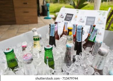 NAKHONRATCHASIMA THAILAND - JUL 15: Various brands of beer in the big ice bucket on July 15, 2017 in Nakhonratchasima, Thailand