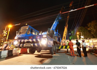 Nakhonratchasima, Thailand - July 10, 2017 : Train carrying cement TPIPL broken wheel caused the derailment of the train station Nakhonratchasima.