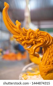 NAKHONRATCHASIMA, THAILAND - JULY 4: Candle wax carving Thai style texture in the traditional parade active festival Buddhist Lent on  JULY 4, 2019 in Nakhon Ratchasima, Thailand.
