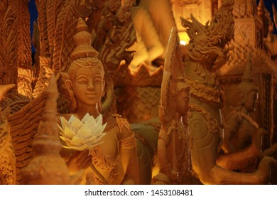 NAKHONRATCHASIMA, THAILAND, MUEANG KORAT - July 16 2019 : The Buddhist Lent Day lent candle parade Thai carved candles. The objective of the ceremony was to offer the Buddhist lent candle to monks.