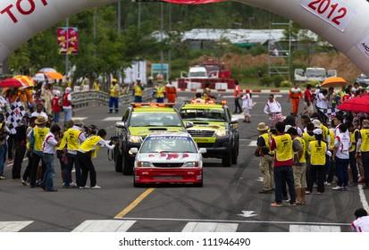 "NAKHONRATCHASIMA, THAILAND-SEPTEMBER 02 : Competition "" Toyota One Make Race 2012 "" Round 4  Championship of Thailand, on SEPTEMBER 02, 2012   at Sport Complex in Nakhonratchasima, Thailand"
