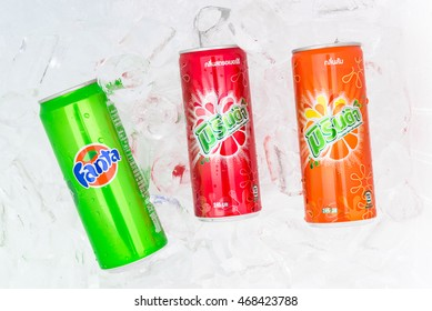 Nakhonratchasima,THAILAND August 14:Fanta green,Mirinda red,Mirinda orange in foam box with ice  on white background.on 14 August 2016 in Nakhonratchasima,Thailand